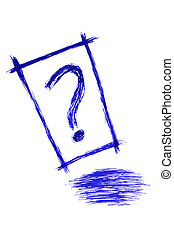 question, bande bleue, marque, -