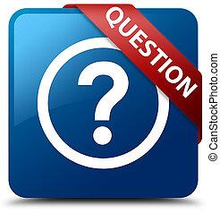 Question blue square button red ribbon in corner