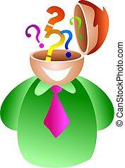 question brain - businessman with questions going on inside...