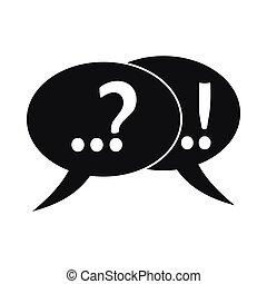 question, bulles, point d'exclamation, parole