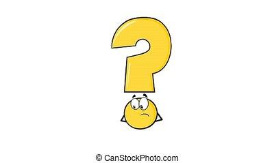 question, caractère, marque, pensée, jaune