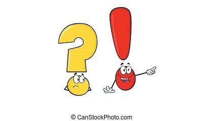 question, caractères, marque, dessin animé, exclamation