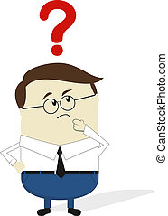 question cartoon - businessman doubt cartoon isolated on...
