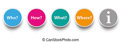 Question Circles Who How What Where - Question icons on the...