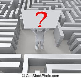 question, dans, labyrinthe, projection, confusion