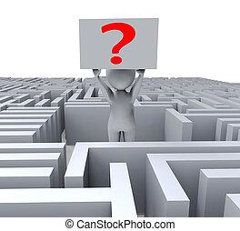 question, dans, labyrinthe, spectacles, confusion