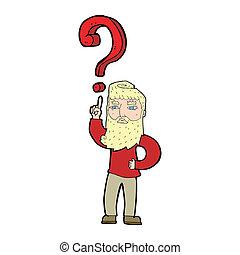 question, dessin animé, homme