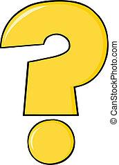 question, dessin animé, marque jaune