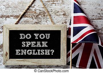 question do you speak English? - a wooden-framed chalkboard...