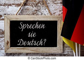 question do you speak German? in German - a wooden-framed ...
