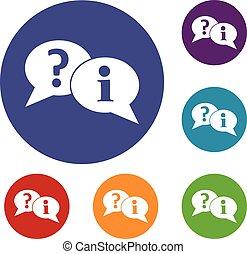 question, et, exclamation, parole, bulles, icônes, ensemble