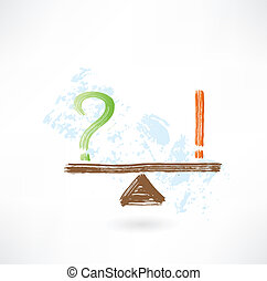 question exclamation balance grunge icon