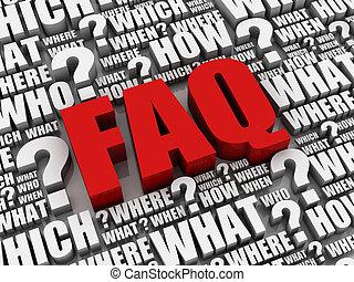 question, faq, lettres, illustration, 3d