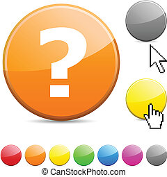 Question glossy button.