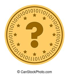 Question golden digital coin vector icon. gold yellow flat coin cryptocurrency symbol isolated on white. eps 10
