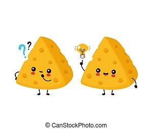 question, heureux, marque, mignon, sourire, fromage
