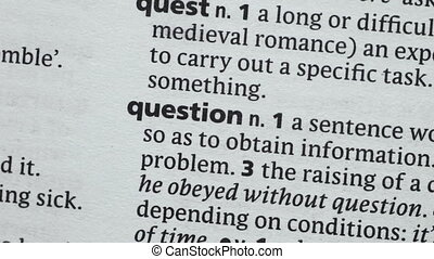 Question highlighted in the dictionary