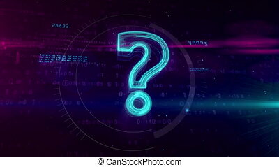 Question hologram mark sign on digital background - Question...