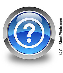 Question icon glossy blue round button