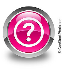 Question icon glossy pink round button