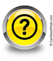 Question icon glossy yellow round button