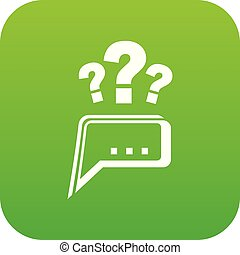 Question icon green vector