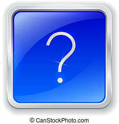 Question icon on blue button