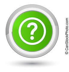 Question icon prime soft green round button