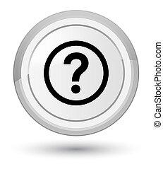 Question icon prime white round button