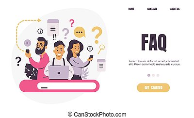 Question landing page. FAQ. People ask frequent questions. Men and women finding information in internet. Help forum and online support center, mobile app or web banner vector flat template