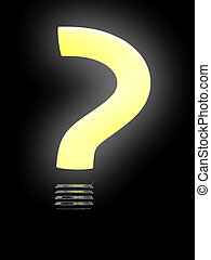 Question lightbulb isolated on black background. 3D image