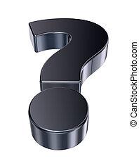 question, métal, -, marque, rendre, fond, blanc, 3d