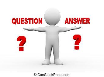 question, mains, ouvert, 3d, homme, réponse