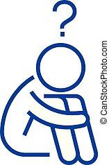 Question man, doubts line icon concept. Question man, doubts...
