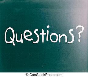 """""""question"""", manuscrit, à, blanc, craie, sur, a, tableau noir"""