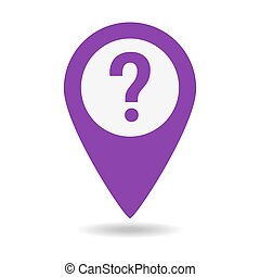 Question map pointer icon on white background.