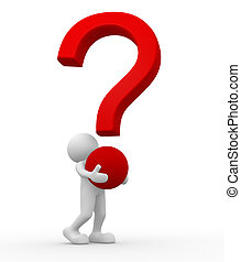Question mark - 3d people - human character, person and a...