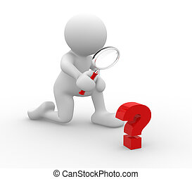 3d people - human character - person with magnifying glass question mark red search . 3d render illustration