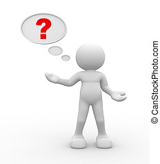 3d people - man, person with question mark in speech bubble