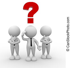 Question mark - 3d people - men, person with a question mark