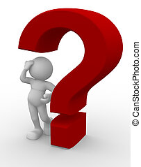 Question mark - 3d person character and a question mark - 3d...