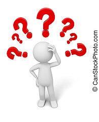 Question mark - A 3d human character/ question mark...