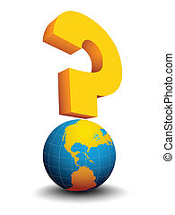 Question mark - Abstract concept with globe and question...
