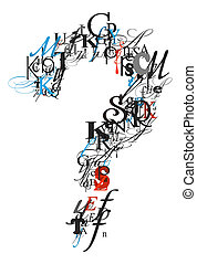 Question mark , alphabet from letters - Question mark , ...
