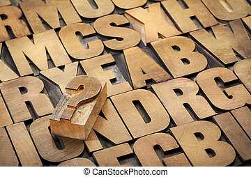 question mark and alphabet