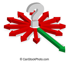 Question Mark and Arrows - Question Mark and Red and Green...