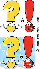 Question Mark And Exclamation Mark Characters. Set ...