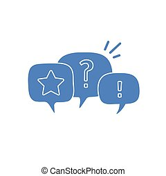 question mark and exclamation mark in chat bubbles , vector illustration isolated on white background.