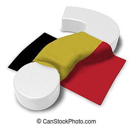 question mark and flag of belgium - 3d illustration