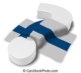 question mark and flag of finland - 3d illustration